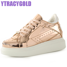 YTracyGold 2017 New Leather Women Platform Shoe Casual Leather Shoes For Women Flat Shoes Ladies Lace up Loafers Zapatos Mujer