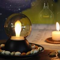 High Quality USB Rechargeable Vintage Design LED Small Night Light Energy Saving Bulb Shape Home Bedroom Table Lamp Nightlight