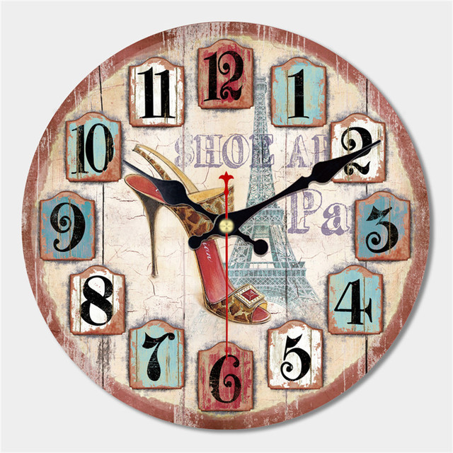 WONZOM Artistic Silent Retro Creative Modern Design Round Vintage Shoe Decorative Antique Wooden Home Large Wall Clock Gift 2017
