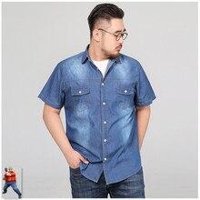 Camisas de verão dos homens denim manga curta camisa social hombre manga curta 5xl 6xl 7xl 8xl plus size calças jeans casuais streetwear