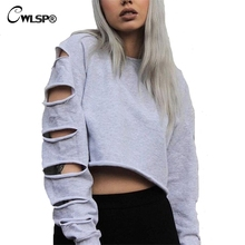 Sexy Short Sweatshirt Long Sleeve Holes Hollow Out Loose Polerones Mujer Midriff Women Fashion Sweatershirt Crop Tops QZ1849 sexy midriff baring tops