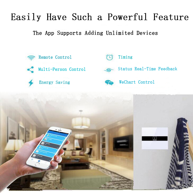 Gorelax Smart Home Automation Module Wireless Remote Control Wall Light  Touch Switch 2 gang Crystal Glass Panel Smart Appliances