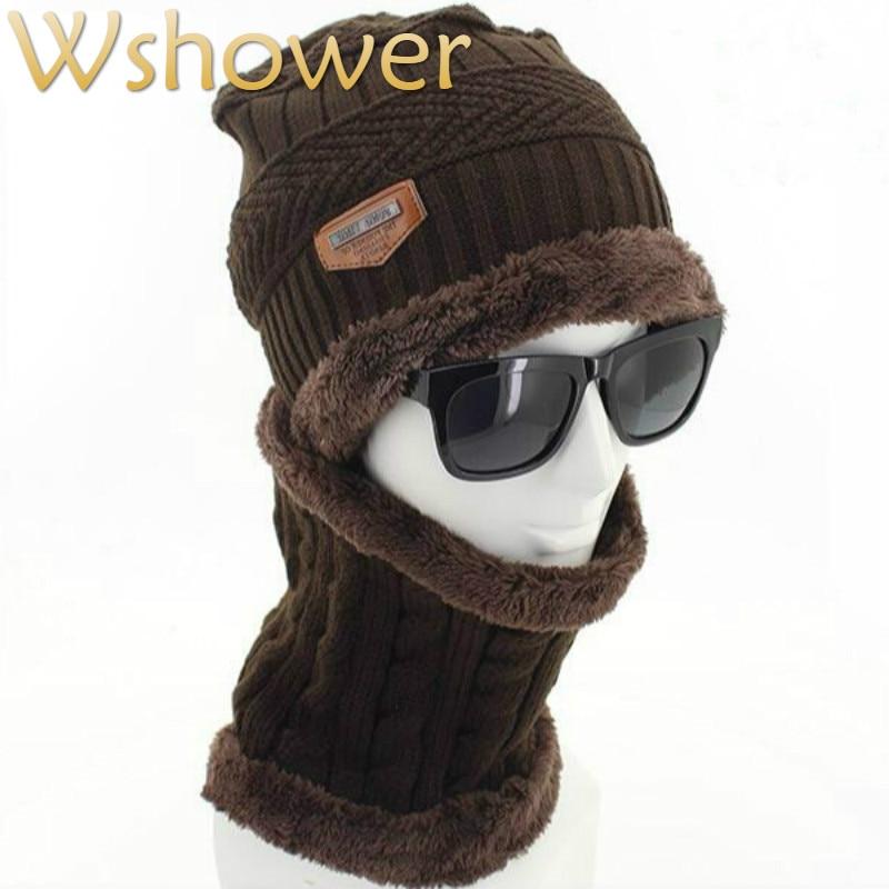 Which In Shower Faux Fur Lining Winter Hat Bib Set Men Thick Warm Fleece Lining Winter Beanie Scarf Set Male Knitted Cap Gorras