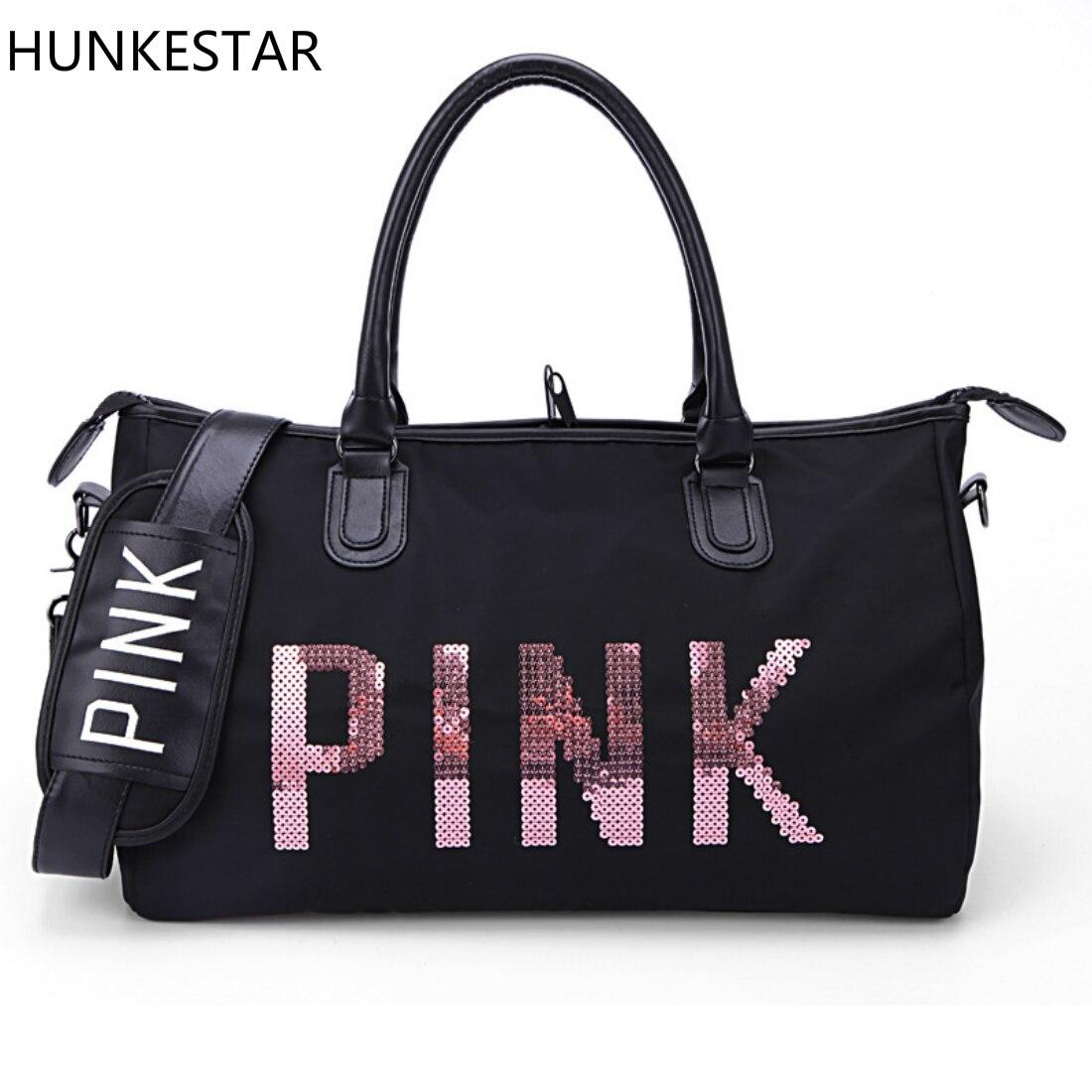 2018 Black Sequins Love PINK Duffle Bag Women Gym Bags Tote Beach Handbag Travel Shoulder Bags traing bag цены