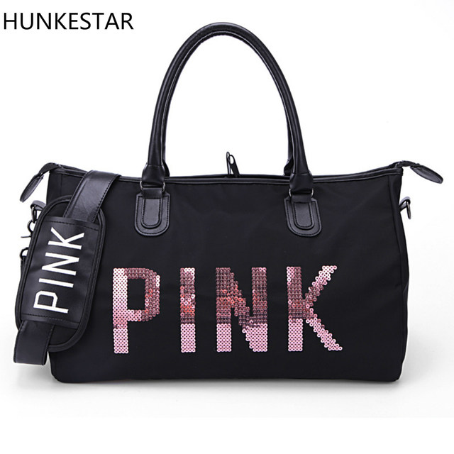 2018 Black Sequins Letters Duffle Bag Women Gym Bags Tote Beach Handbag Travel Shoulder Traing