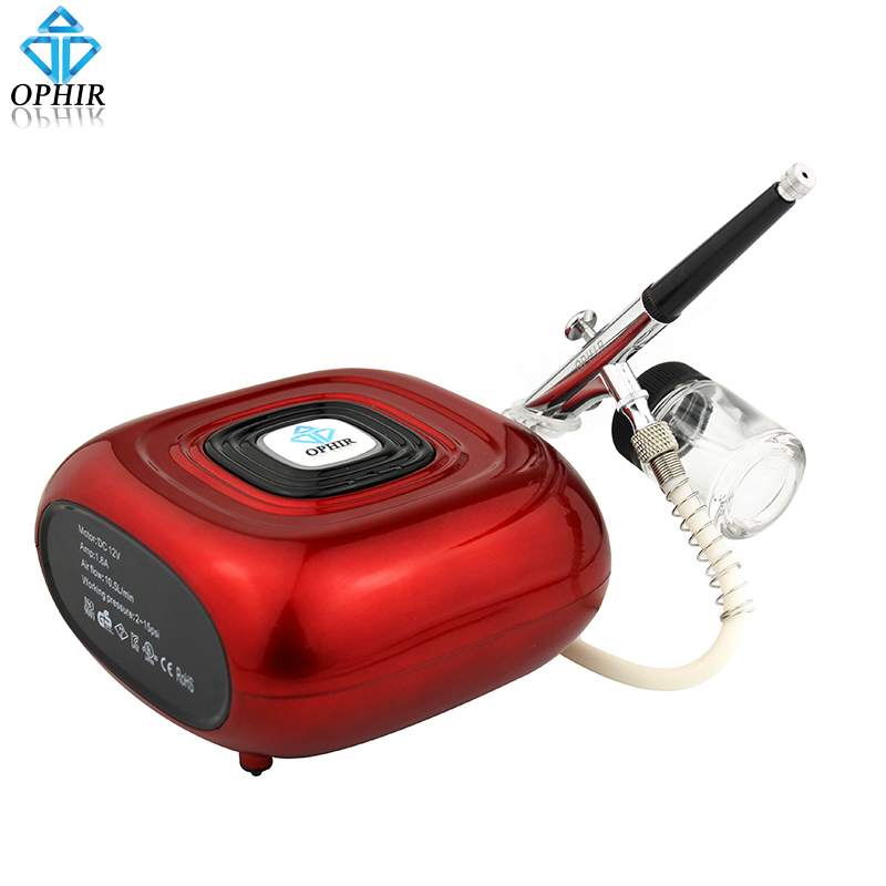 OPHIR Auto Start & Stop Mini Airbrush Air Compressor with Airbrush Kit for Beginning Hobby Color Body Paint Makeup _AC123R+AC005 ophir 0 3mm airbrush kit with mini air compressor single action airbrush gun for cake decorating nail art cosmetics ac002 ac007