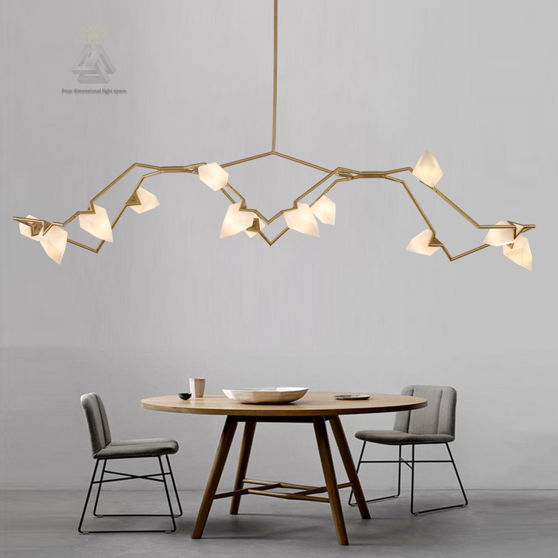 Creative G9 Black Post Modern Design Peach Shape 12 Light LED Branch Seed Cha