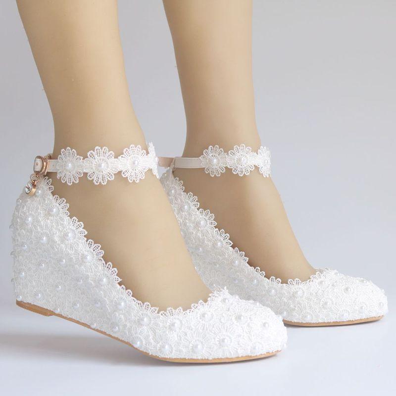Cuña de 5CM, zapatos de encaje de tacón medio para mujer, correas de tobillo para novia, zapatos de boda perlas blancas, NQ171, zapatos de fiesta para niñas Pegatina de suela de zapato para mujer, para bota de tacón alto tipo sandalia, almohadilla autoadhesiva antideslizante, almohadilla para puntera frontal, almohadillas de zapato Protector