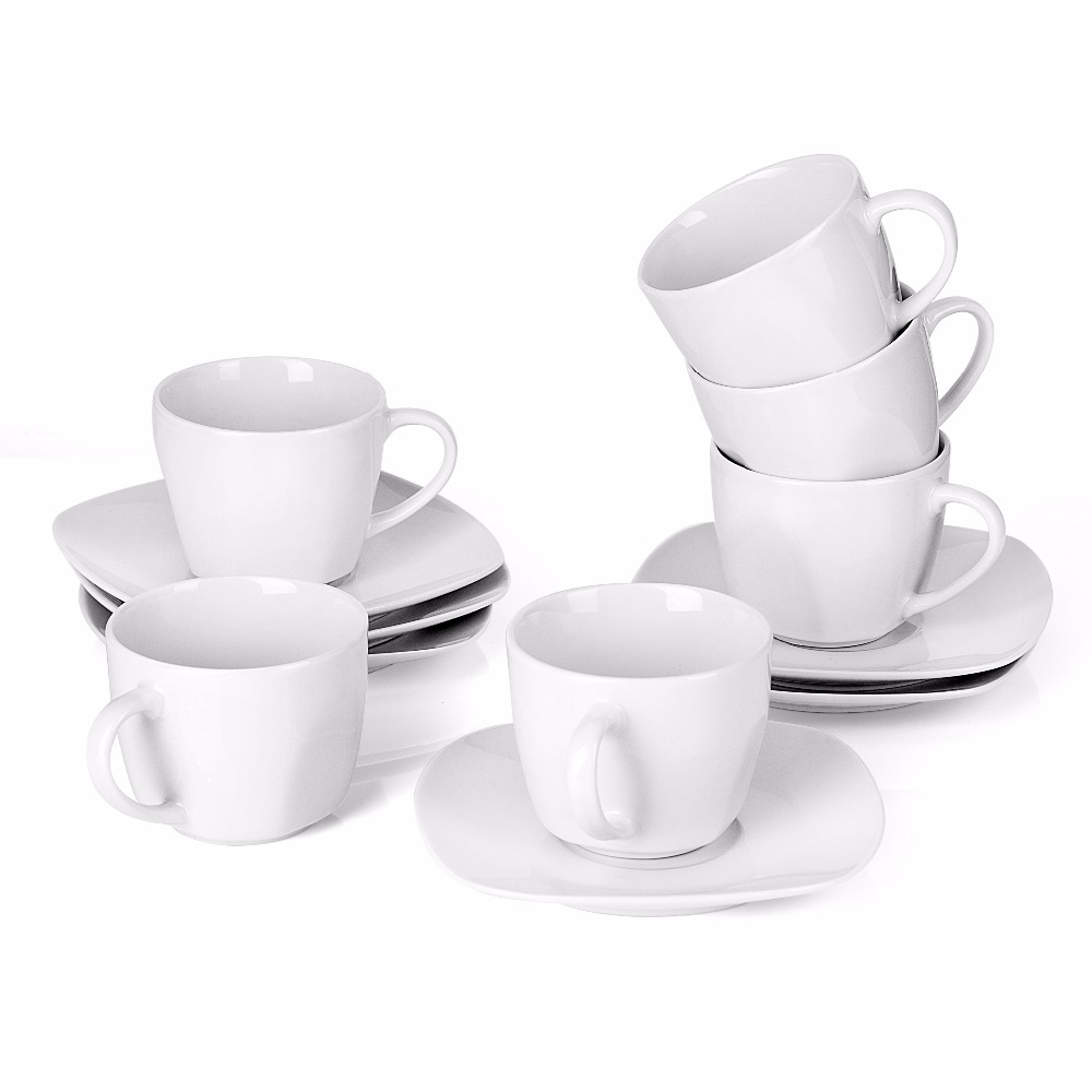 MALACASA Series Elisa 12 Piece Ivory White China Ceramic Porcelain Drinkware Coffee Service Set with 6 Piece Cups and Saucers