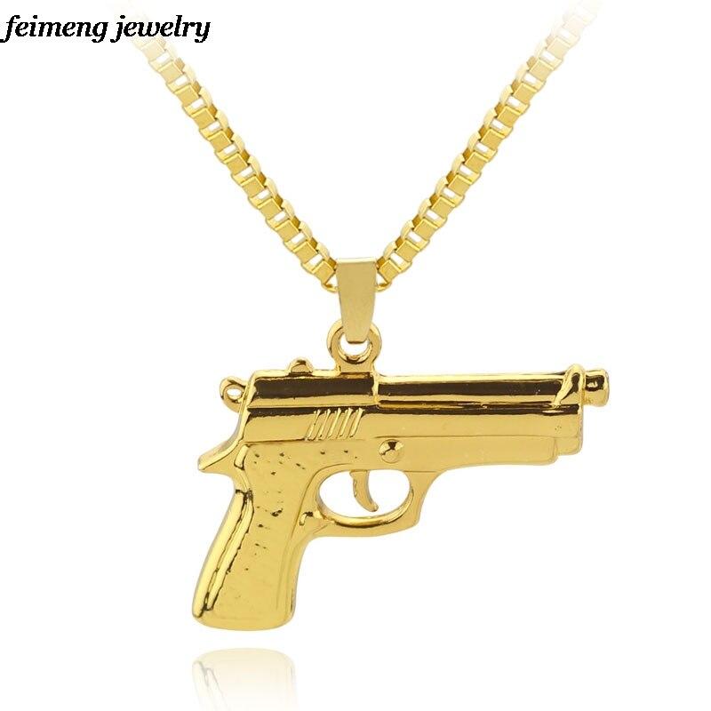 Big Gold Chain Pist Pendant Unisex Gold Color Submachine Gun Pendant Chain Maxi Necklace For Men/Women Hop Jewelry Gifts