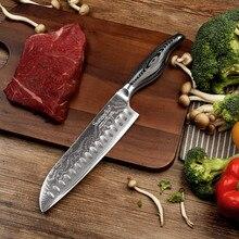 SUNNECKO 7inches Дамаск Сантоку Нож Японский VG10 Сталь Сильная твердость Клинок Кухонные ножи Pakka Wood Handle Шеф-повар Slicer