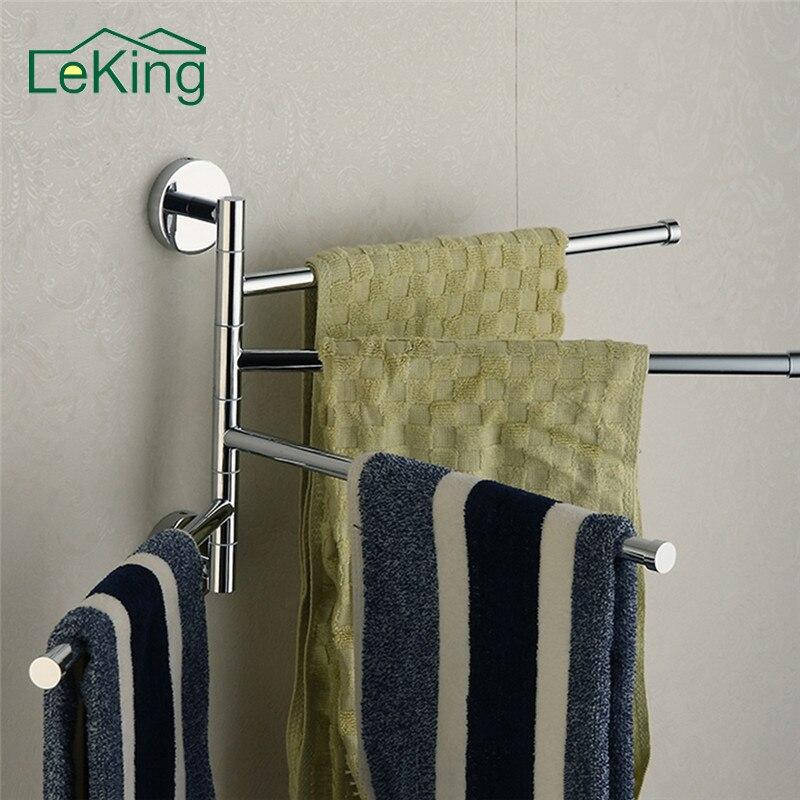 LeKing Edelstahl Bad Handtuchhalter 4 Swivel Handtuch Schienen Aufhänger badkamer Regal Drehen Handtuch Hut Rack Handdoek Houder