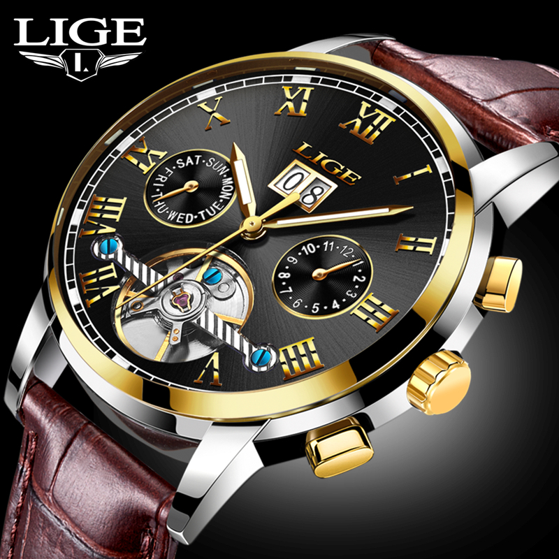 Neue Mode LIGE Luxusmarke Uhr männer Automatische Mechanische Uhr Männer Sport Wasserdichte Leder Uhren Relogio Masculino