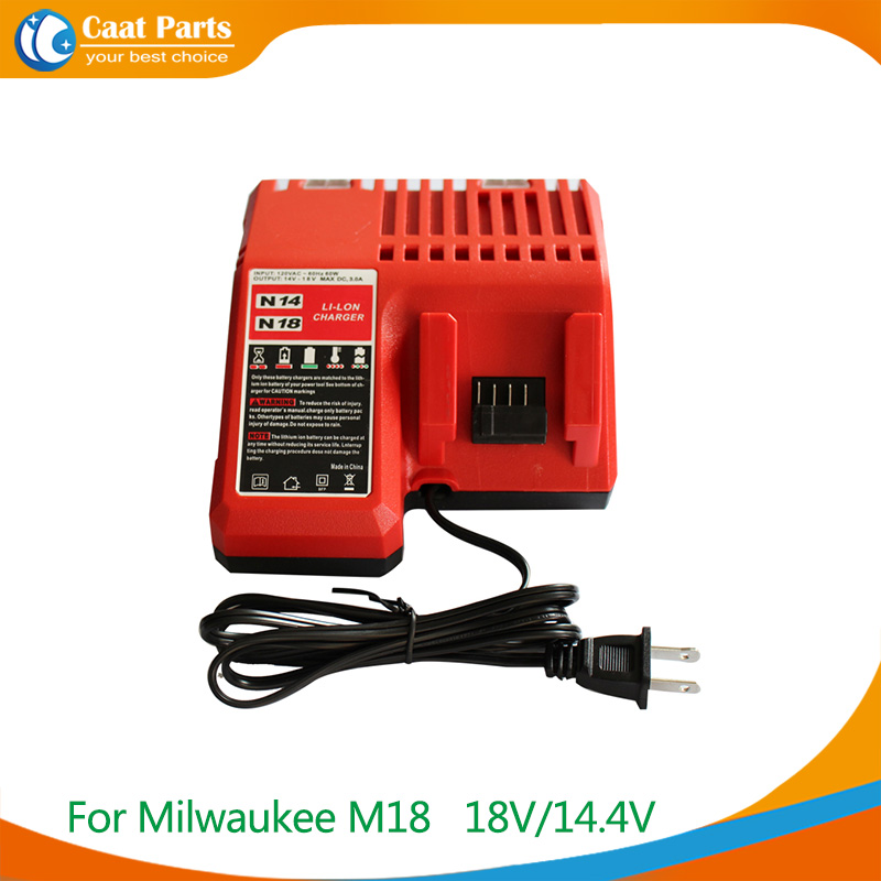 AC110-240V Power Tools Charger for Milwaukee M18 18V 14.4V C18C C1418C 48-11-1815/1828/1840 M18 Series lithium Li-lon battery m18 electric drill accessories lithium ion battery 18v 4000mah for milwaukee m18 48 11 1828 48 11 1840 18v 4 0ah 72wh battery