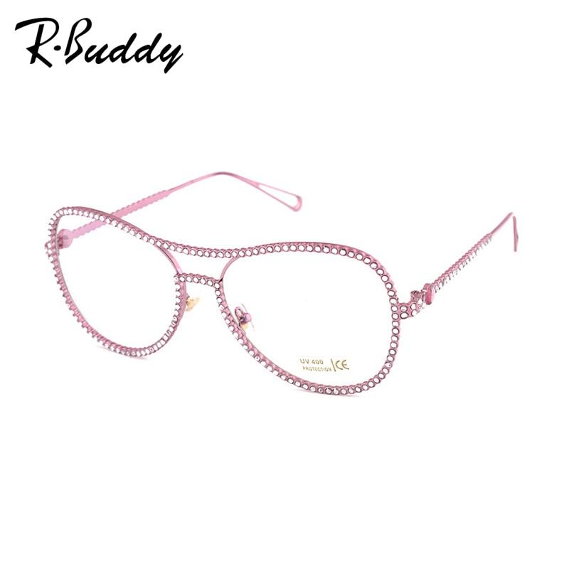 rbuddy luxury women glasses frame rhinestone glasses frame women brand metal glasses clear lenses oversized eyeglasses
