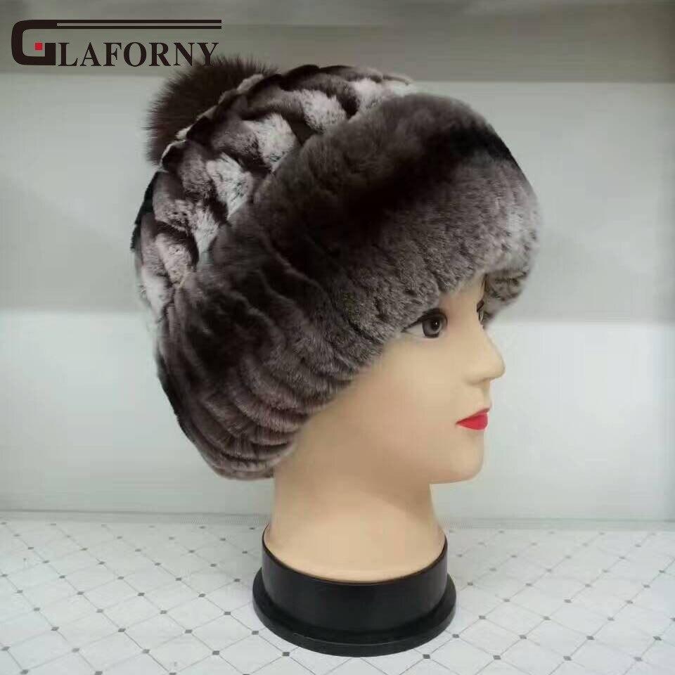 Glaforny Mulheres chapéu do inverno genuine rex rabbit fur gorros chapéu de  raposa poms do pom b3b44fb5d80