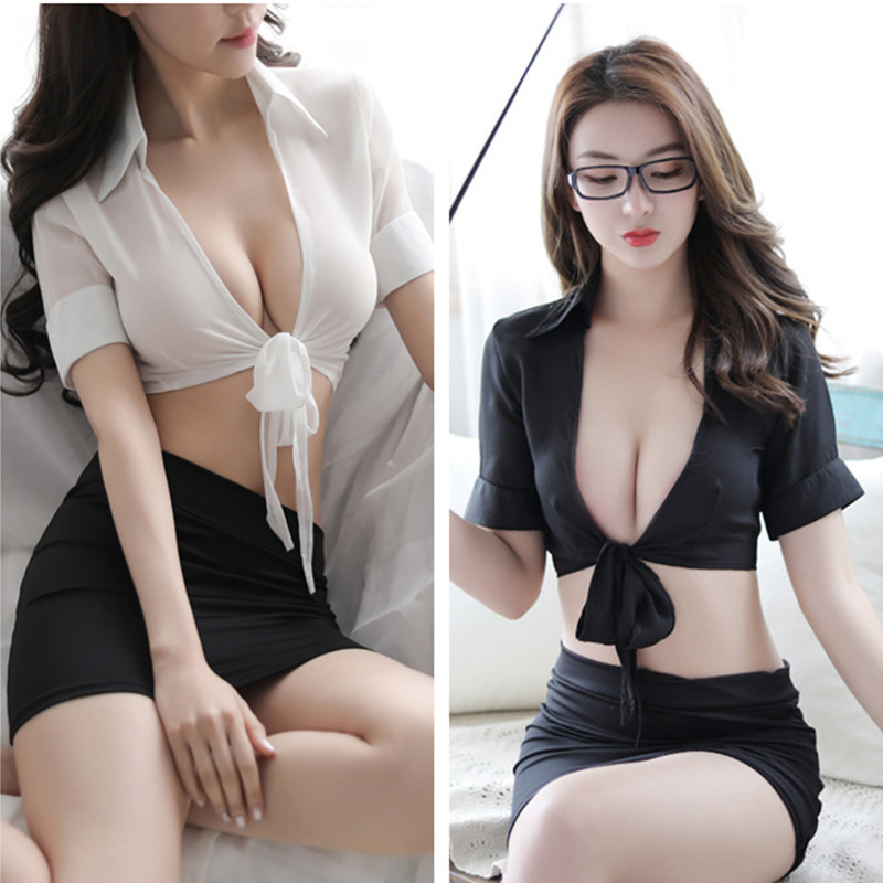 V Neck Secretary Uniform Set Teacher Costume Role Play Women Sexy Lingerie Hot Sexy Underwear Female Erotic Costume White