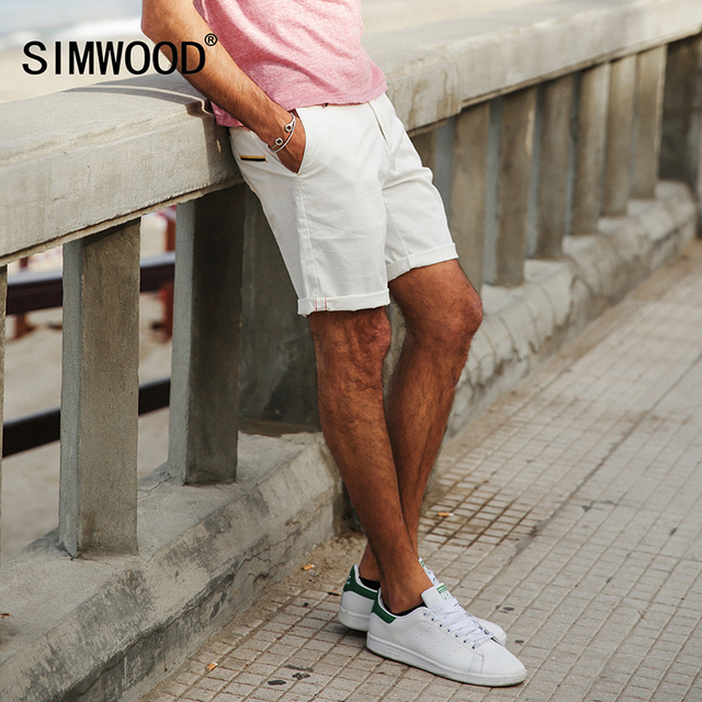 7a109250c73 SIMWOOD 2018 Summer New Shorts Men White Slim Fit Knee Length Zipper Fly  Cotton Brand Clothing XD017006