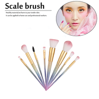 10pcs Set Professional Facial Makeup Brushes Set Plastic Handle Foundation Powder Eyeshadow Cosmetic Makeup Brushes Top