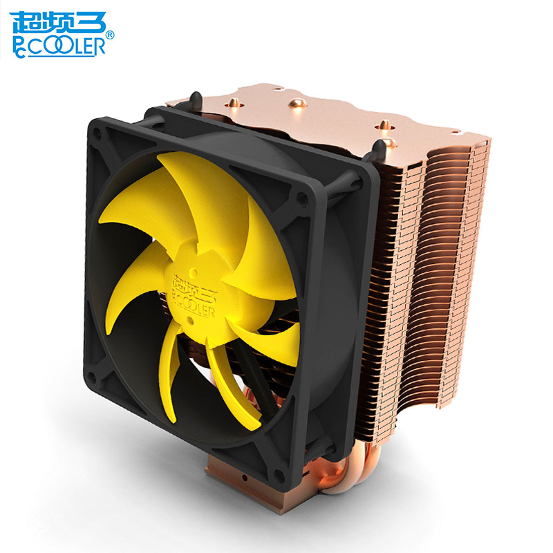 PCcooling CPU cooler 9cm quiet fan 2 copper heatpipes computer pc cpu cooling radiator for AMD Intel 775 1155 1150 1151 1156 pccooler cpu cooler 4 copper heatpipes 4pin 100mm pwm quiet fan for amd intel 775 115x computer pc cpu cooling radiator fan