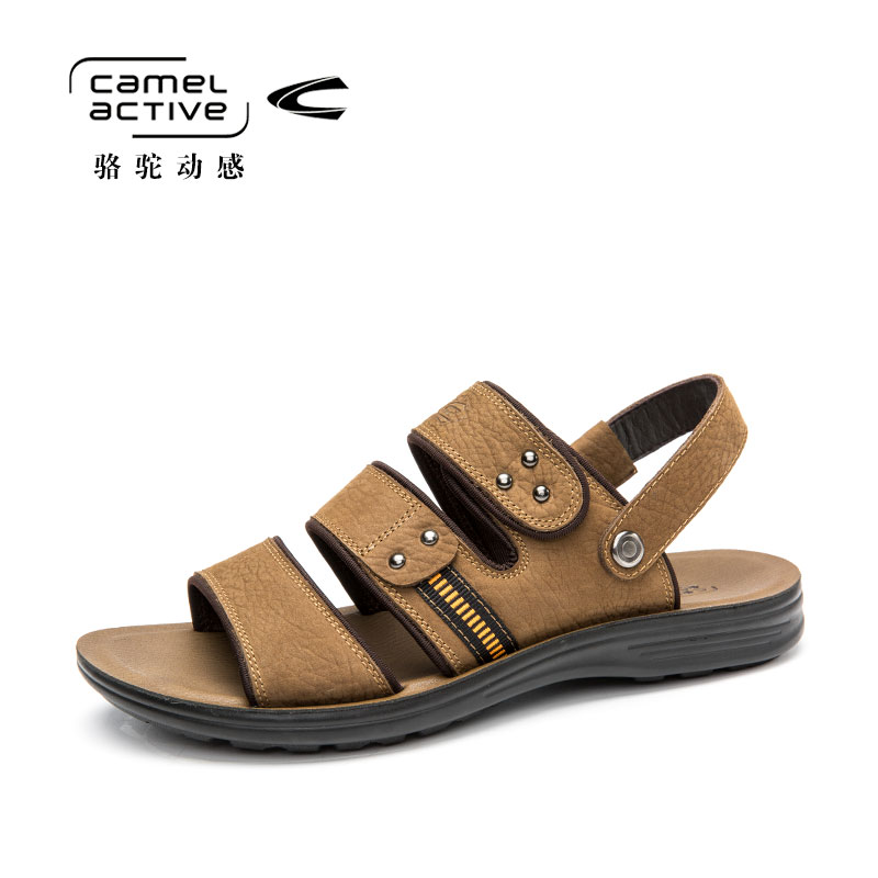 Camel Active Summer Breathable Sandals Shoes Casual Flip Flops for Men Slip On Beach Shoes High Quality Leather Slippers
