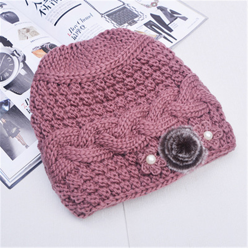 Balaclava Mink fur cap and pompoms fox winter hat for women girl hat knitted wool hat female thick cotton cap brand cap the new children s cubs hat qiu dong with cartoon animals knitting wool cap and pile