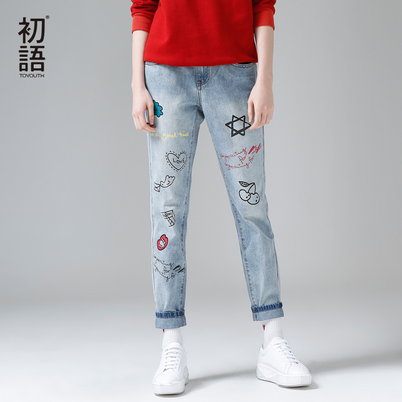 Toyouth Jeans Women Streetwear Graffiti Printed Jeans Pants 2018 Casual Trousers Female Denim Pantalons Vintage Harem Pants usa american flag printed jeans mens trousers white denim straight slim men jeans pants pantalons homme size 42