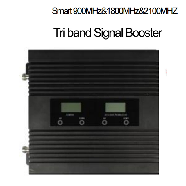 ALC function 22dbm 3 bands GSM 900Mhz DCS1800Mhz WCDMA 2100Mhz booster 65 dbi Triband mobile phone signal booster repeater