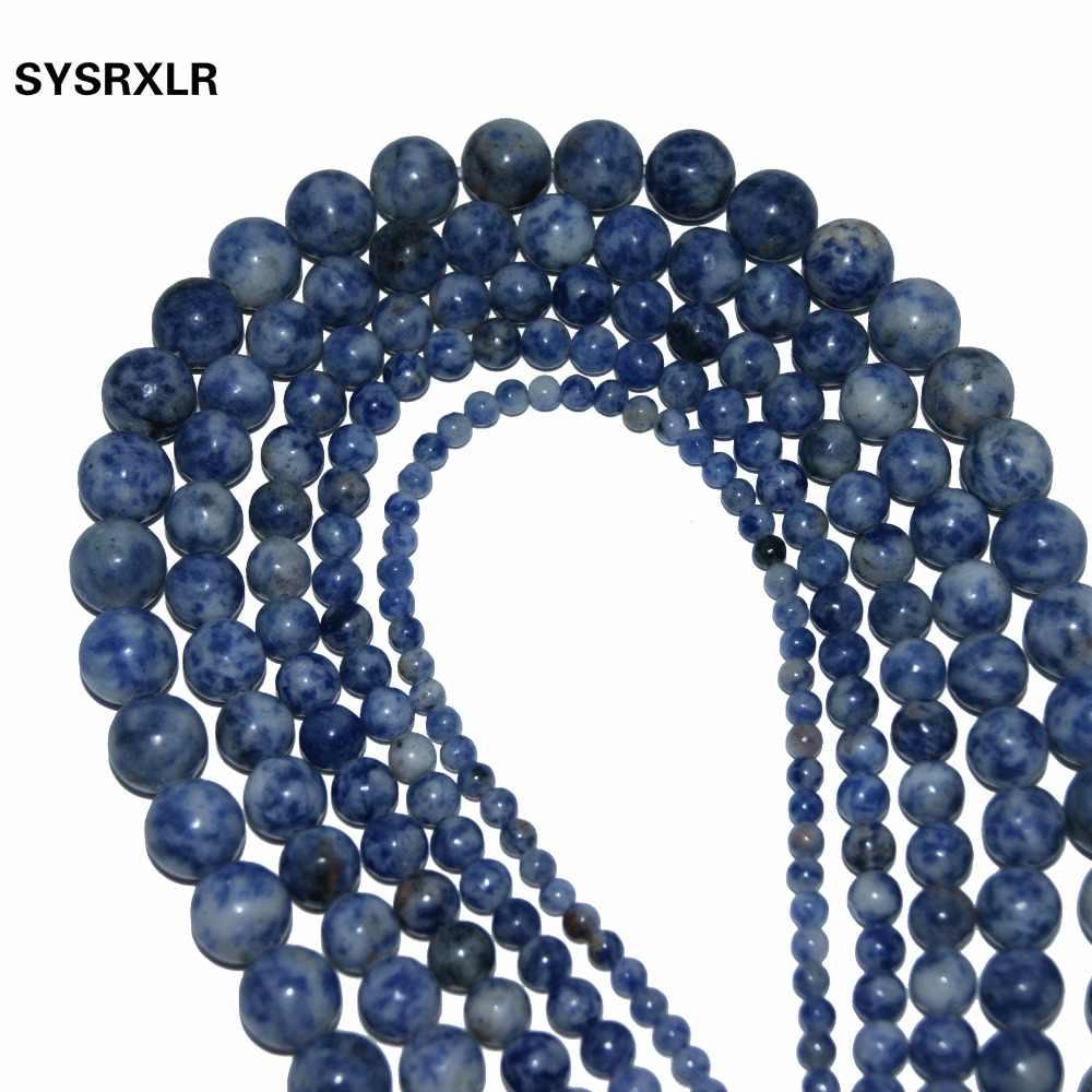 Бусины из натурального камня в белый горошек, синие вены, содалит, 4, 6, 8, 10, 12 мм, нить 15 дюймов, сделай сам, изготовление украшений, браслет, оптовая продажа