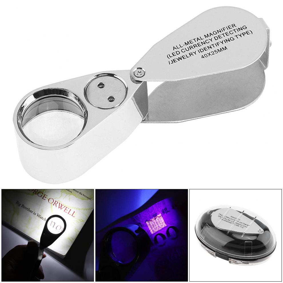 40X Metal + Acrylic Optical Lens Foldable Portable Magnifier with 2 LED Light and 1 UV Light for Jewelry / Banknote Checking