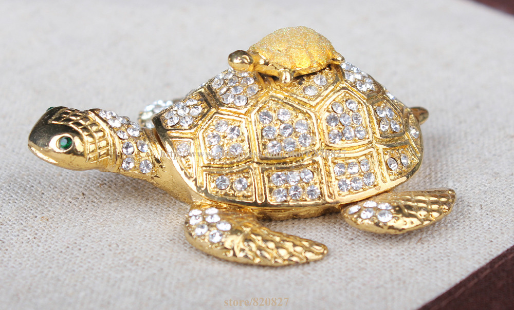 Turtle Mother and Son Faberge Styled Trinket Box Handmade Decorated Turtle Treasure Holding Box Turtle Shape Trinket 6pcs set turtle action figure doll toy super warrior turtle and mouse teacher turban turtle mini figurine deco for home