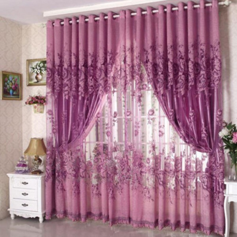 High-Grade Curtain Peony Punching Half Shading Rotten Yarn Curtain For living Room Bedroom Kitchen Tulle Curtains Valance Drapes(China)