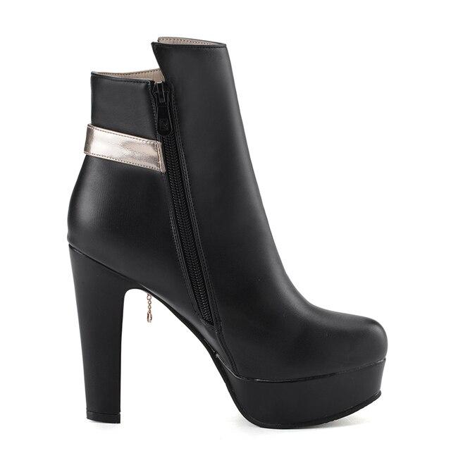 WETKISS 2018 épais talons hauts cheville femmes bottes bout rond chaussures en métal décoration nouveau Pu femme chaussures automne plate-forme botte