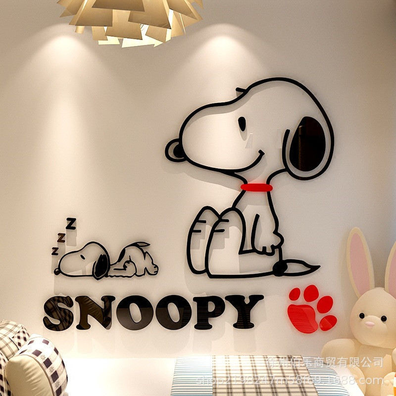 3D Acrylic Mirror Cartoon Dog Wall Stickers Cute Snoopy Sticker Kids Bedroom Home Decoration Self-adhesive Art Wall Wallpaper