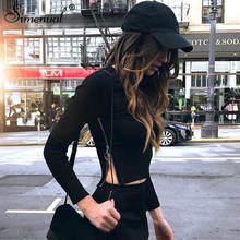 Simenual Side zipper t-shirts for women streetwear 2018 autumn slim sexy black female t-shirt crop top long sleeve tee shirt hot(China)