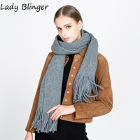 Lady Blinger new knitted tassel long scarves multi colors faux cashmere shawl soft wraps brand discount pashmina