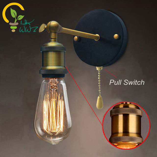 Pull chain switch loft adjustable industrial metal vintage wall pull chain switch loft adjustable industrial metal vintage wall light edison retro wall lamp country style aloadofball Image collections