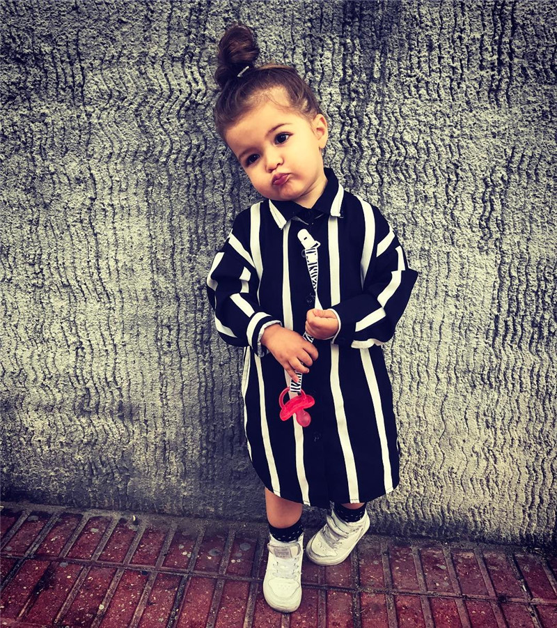 2019 New Summer Newborn Baby Girls Striped Long   Blouses   Tops   Shirt   Casual Clothes Outfits Set