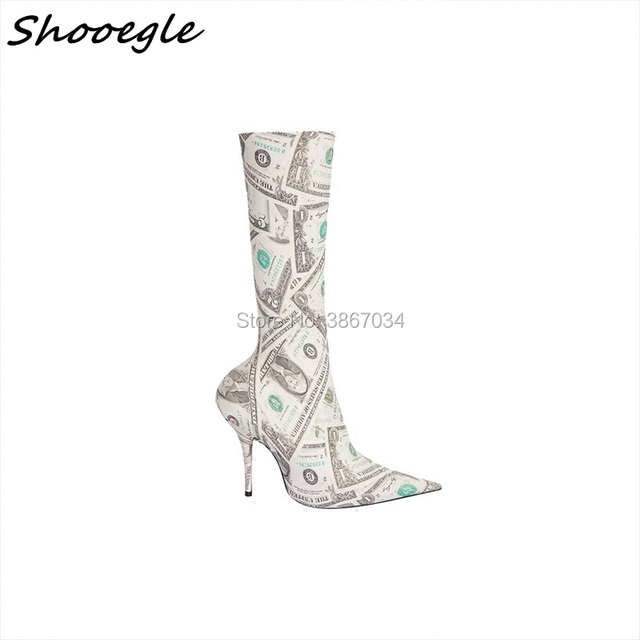 SHOOEGLE 2018 Hottest Fashion Trend Runway Sock Boots High Heels Stiletto Shoes  Booties Women Ankle Boots Stretchy Print Boots 61a438abe2af