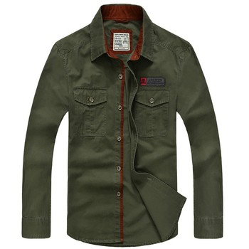 Brand Clothing Men Shirts Cotton Long Sleeve Camiseta Masculina Denim Shirt Men Army Military Casual Size S-4XL 5XL A3056