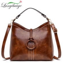 Frauen Vintage tasche Öl wachs Leder Handtaschen 2019 Luxus Damen Hand Crossbody Schulter taschen Für Frauen Tote Taschen Sac EIN haupt Femme
