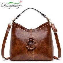 Kadın bağbozumu çanta yağ balmumu deri çantalar 2019 lüks bayanlar el Crossbody omuz çantaları için kadın büyük el çantası çantaları ana kesesi Femme