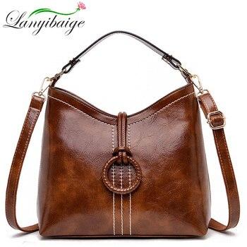 Women Vintage bag Oil wax Leather Handbags 2019 Luxury Ladies Hand Crossbody Shoulder bags For Women Tote Bags Sac A Main Femme