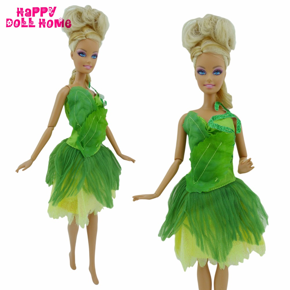 Handmade Fairy Tale Green Dress Wedding Party Gown Princess Outfit Clothes For Barbie FR Doll Accessories Kid Dollhouse Toy Gift fashion outfit daily casual wear halter backless blouse jeans trousers handbag shoes clothes for barbie doll accessories gift