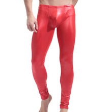 Faux Leather Men Fitness Skinny Pants Fashion Sexy Mens Night Club Stage Perform Slim Trousers Body Shaper Wear