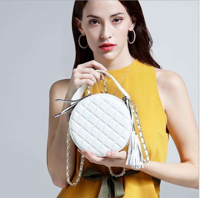 Pochette Véritable White Femmes Sacs Cuir Circulaire En apricot Sac Red dark Designer À Nouveau Dames Et Modèle Main black De Épaule Mode 7xqZAT
