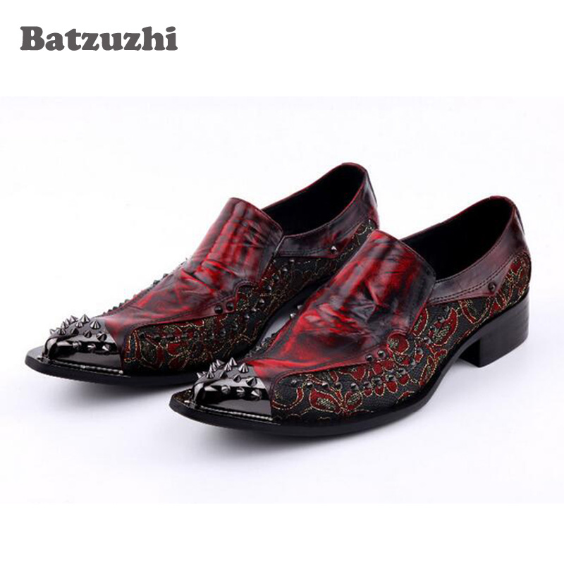 Luxury 2018 New Handmade Men Shoes Pointed Toe Metal Tip Spikes Men Dress Shoes Slip On Evennig Party Wedding Shoes Size 38-46 new fashion men s wedding shoes pointed toe slip on oxford shoes for men chains flat chaussure homme 2017 plus size 38 46