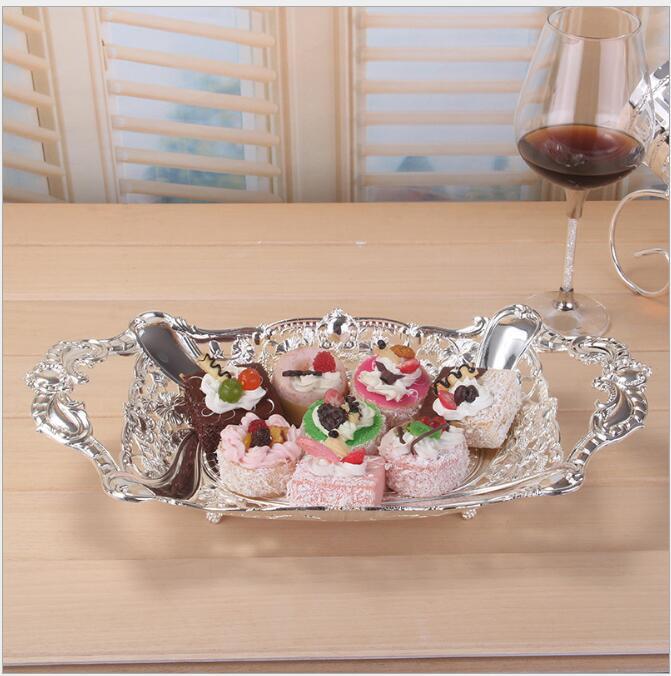 Argent européen plaqué servant le plateau Snack fruits plateau métal stockage plateau cuisine plateau fruits plaque décoration pour la maison SNTP034