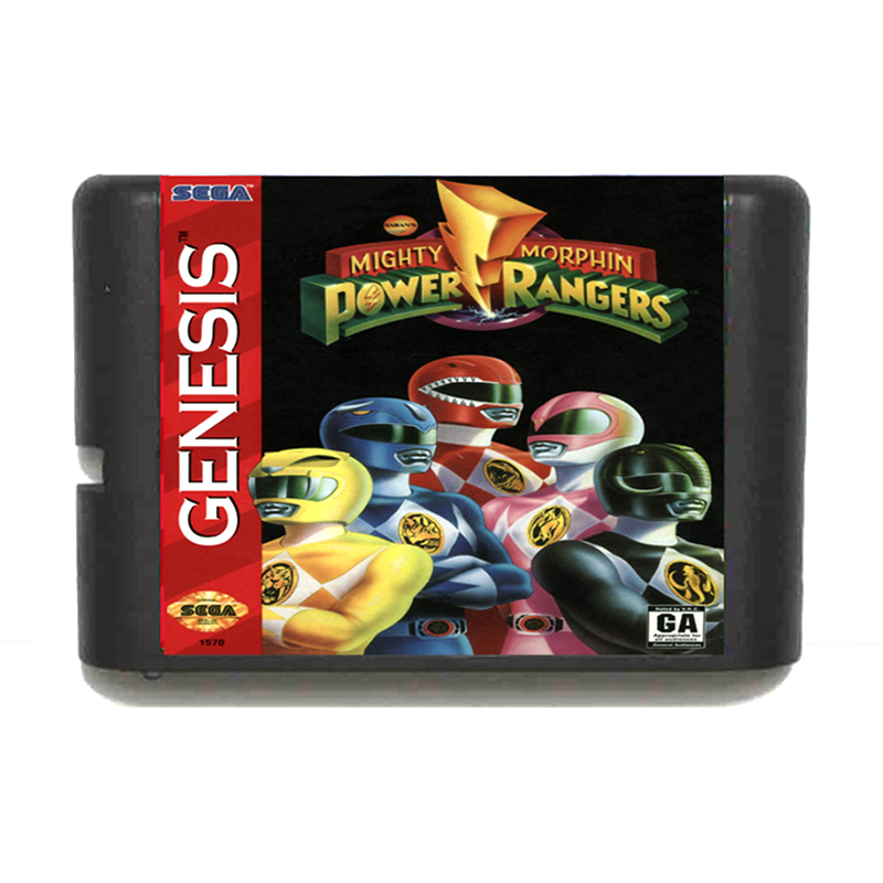 Mighty Morphin Power Rangers 16 bit MD Game Card for Mega Drive for Genesis EU/JP Shell