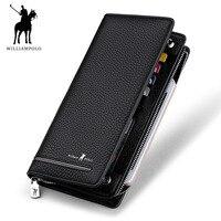 WILLIAMPOLO Genuine Leather Luxury Brand Men Wallets Long Men Purse Wallet Male Clutch Business Wallet Coin PL219